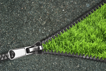 Zipper with grass and asphalt photo