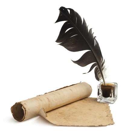 Blank paper, quill   ink photo