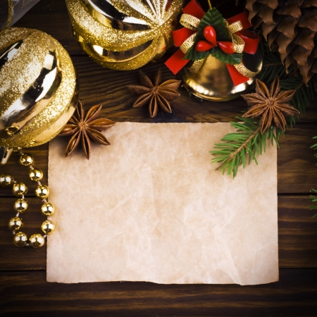 Christmas decoration over old wood background