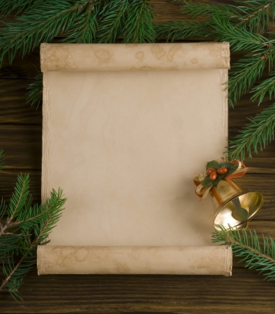 old fashioned christmas: Christmas decorations on wooden background Stock Photo