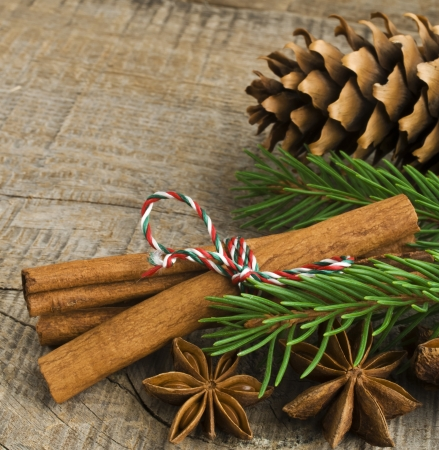 Christmas decoration over old wood background Stock Photo - 16758633