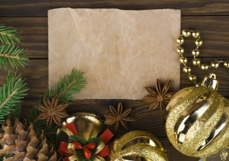 Christmas decoration over old wood background Stock Photo - 16822952