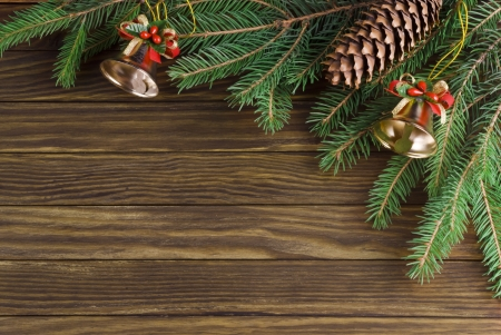 Christmas decoration over old wood background photo