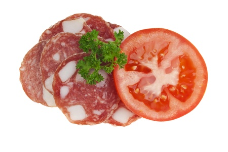 Salami with Tomato Stock Photo - 16995320