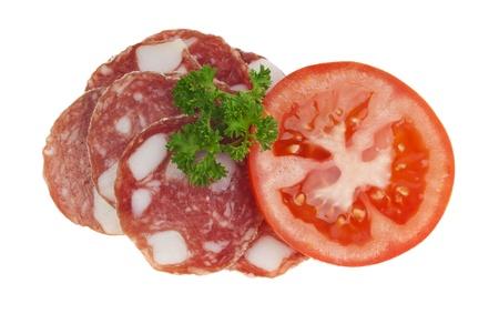 Salami with Tomato Stock Photo - 16995320