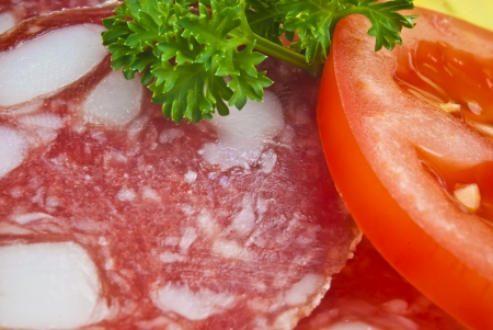 Salami with Tomato Stock Photo - 16995328