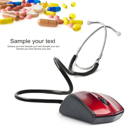 stethoscope computer mouse medical online concept Stock Photo - 18186140