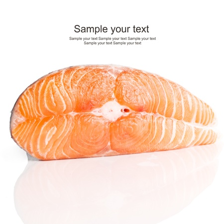 Slice of red fish salmon isolated on white surface