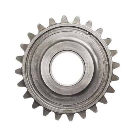 cogs: real stainless steel gears isolated over white background