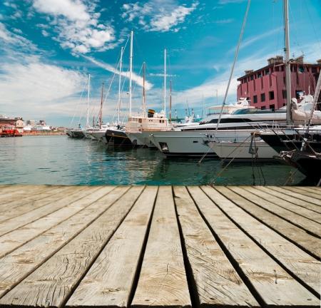 berth: Marina with yachts in Genoa in Italy