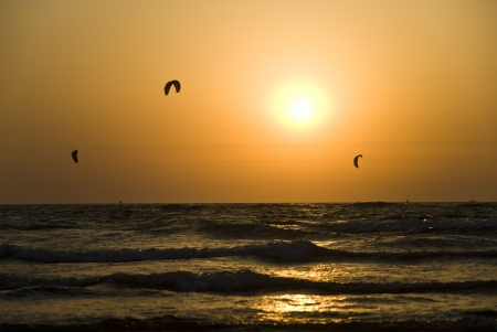 kitesurf: Kite boarding  Kitesurf freestyle at sunset
