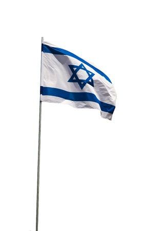 Waving Flag of Israel isolated on a white background photo