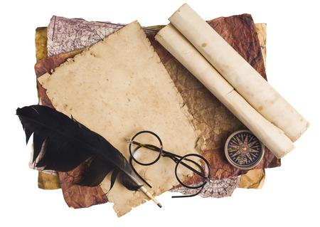 vellum: Old glasses on the vintage document