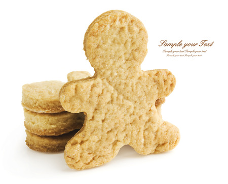 Gingerbread man and cookies  Isolated on white background photo