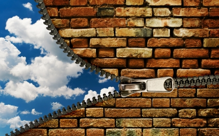 Zipper and cloudy sky, abstract nature background photo