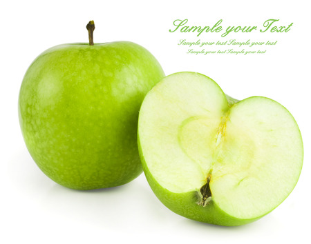 Green apple fruits and half of apple isolated on white background photo