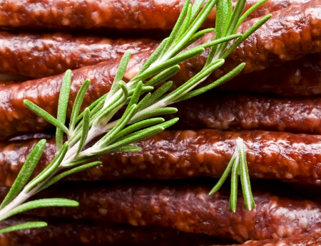 Smoked sausage with rosemary photo