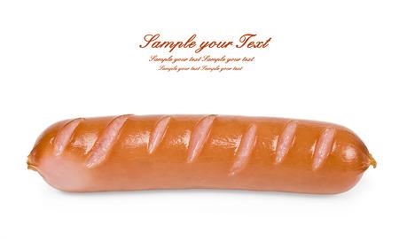 One sausage isolated on white background photo