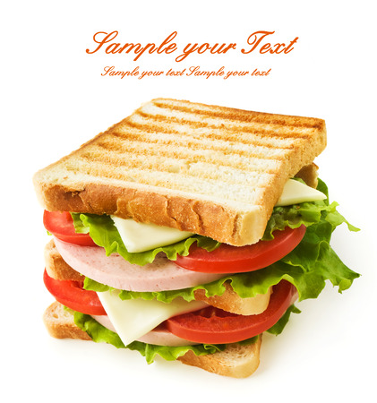Small toast sandwich isolated on white photo