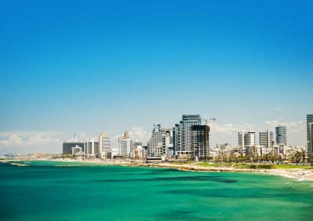 aviv: Sea coast and the view of the Tel Aviv from Old Jaffa  Stock Photo