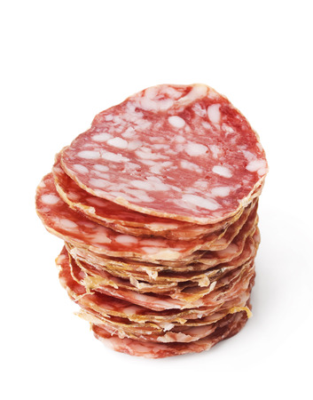sliced salami isolated on white photo