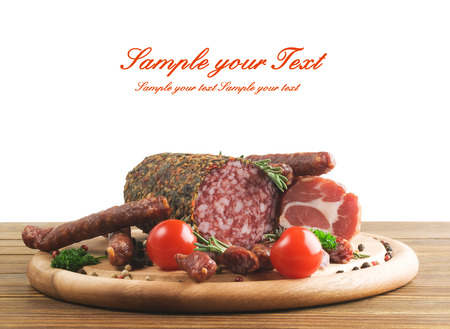 Smoked sausage with rosemary and peppercorns photo