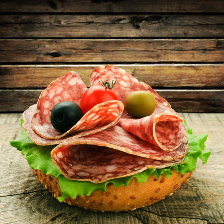 salami and lettuce photo