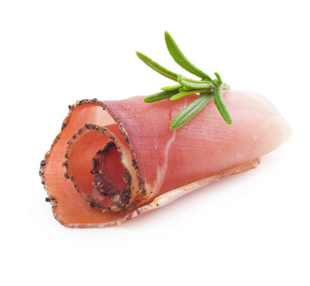 Rolled slices of ham photo