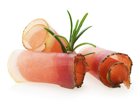 Rolled slices of ham Stock Photo