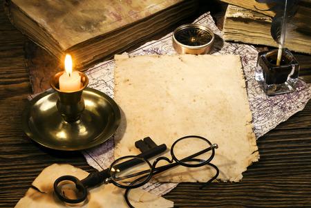 candle holder: Vintage letter concept