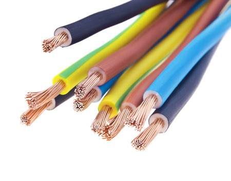 closeup of a three-phase electric cable on a white  Stock Photo