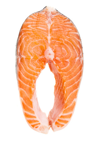 Fresh raw salmon isolated on white  photo