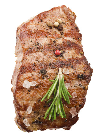 Grilled steak on white background photo