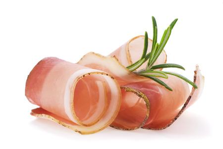 Rolled slices of ham Foto de archivo