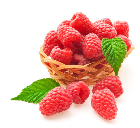raspberries with leafs