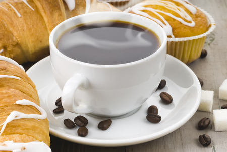 hot coffee and a muffin Stock Photo