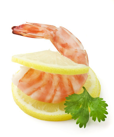 Closeup view of shrimp isolated on the white background photo