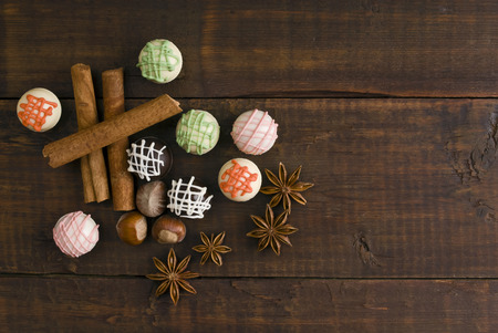 Delicious chocolates and spices photo