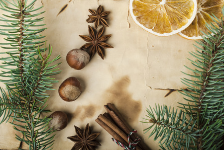 Christmas background and spices photo