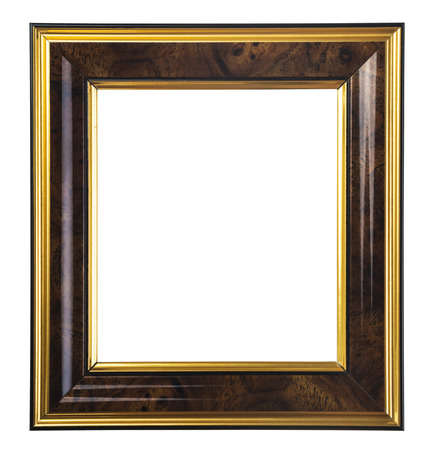 dark wooden picture frame isolated on white background photo