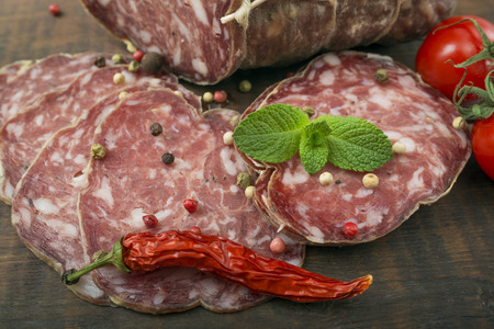 air dried salami: Smoked sausage with mint and peppercorns