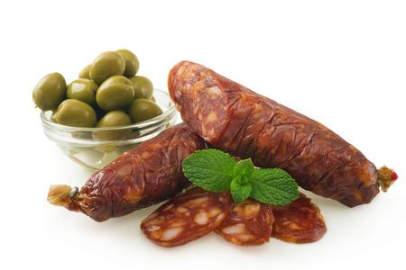 smoked sausage: delicacy smoked sausage Stock Photo
