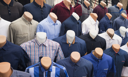 turkiye: The range of mens shirts on mannequins in the market (selective focus) Stock Photo
