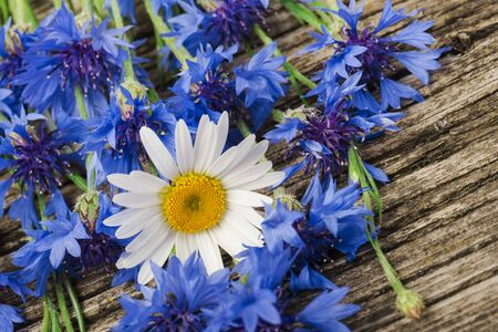 bouquet of blue cornflowers and daisies close-up on a wooden background