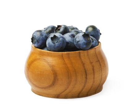 Fresh organic blueberries on a white background