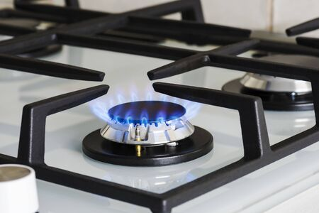 Gas for cooking food at home. Modern kitchen stove.
