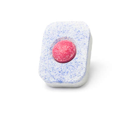 One dishwasher detergent tablet isolated on white background