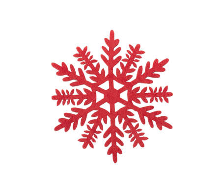 Red christmas snowflake on white background