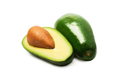 Ripe fresh green avocado isolated on white.