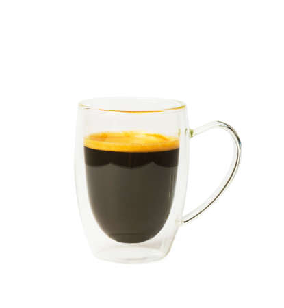 Transparent double wall glass mug with espresso coffee isolated on white background Standard-Bild